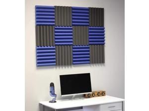"""2"""" Blue and Black Acoustic Wedge Soundproofing Studio Tiles 12 pack"""