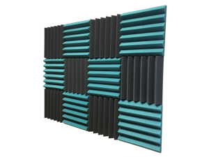 """2"""" Teal and Black Acoustic Wedge Soundproofing Studio Tiles 12 pack"""