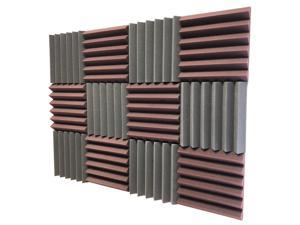 """2"""" Burgundy and Black Acoustic Wedge Soundproof Studio Tiles 12 pack"""