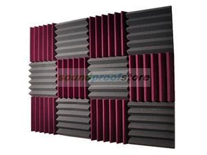 Soundproof Store, 2x12x12-12PK Acoustic Wedge Sound Dampening Studio Foam, BURGUNDY/CHARCOAL