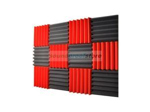 Soundproof Store, 2x12x12-12PK Acoustic Wedge Sound Dampening Studio Foam, RED/CHARCOAL