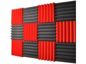 2x12x12-12PK RED/CHARCOAL Acoustic Wedge Soundproofing Studio Foam