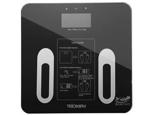 Triomph Premium Digital Body Fat Bathroom Scale Measures Weight, Body Fat, Water, Muscle, Bone Mass and Calorie, Smart Step-On Technology, 400 lbs Capacity (Black)