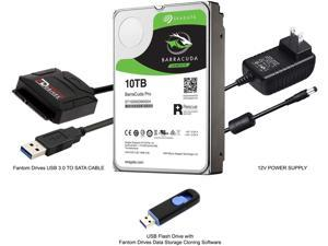 Fantom Drives 10TB 7200RPM Hard Drive Upgrade Kit with Seagate Barracuda Pro ST10000NE0008, Fantom Drives SATA to USB 3.0 Converter and Fantom Drives Cloning Software Inside USB Flash Drive