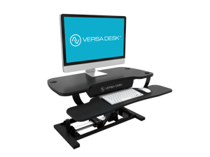 """VersaDesk PowerPro 36"""" Electric Standing Desk Converter Adjustable Desk Riser With Keyboard Tray and Dual Monitor Stand - Convert Your Desk to a Sit-To-Stand Ergonomic Workstation"""