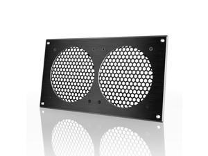 """AC Infinity Ventilation Grill Black 12"""", for PC Computer AV Electronic Cabinets, also mounts two 120mm Fans"""