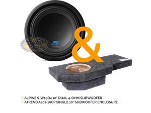 "Alpine S-W10D4 S-Series 10"" Dual 4-Ohm Mobile Subwoofer & Atrend A201-10CP Single 10"" Subwoofer Enclosure for 02-Up Dodge Ram Quad Cab Trucks"