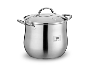 304 Stainless Steel Induction Deep Stock pot Stockpot with Glass lid