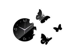 Creative Living Room Butterfly Wall Clock Acrylic Mirror black