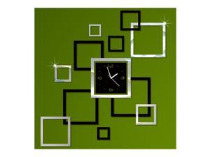 Wall Clock Stylish 3D Decoration Square Shape black silver