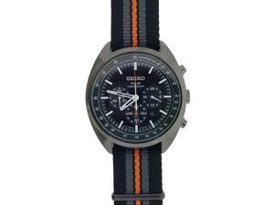 Seiko SSC671 Men's Multicolor Nylon Bracelet With Black Analog Dial Watch NWT
