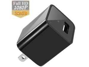 1080P AC Adapter Charger Plug 32GB Hidden Spy Camera Motion Detection Surveillance Video Recorder (Black)