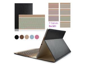 "iPad Pro 9.7"" Colorful 7 Colors Backlit Aluminium Bluetooth Keyboard Flip Magnetic PU Leather Case Smart Cover(Black)"