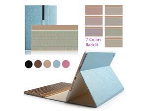 "iPad Pro 9.7"" Colorful 7 Colors Backlit Aluminium Bluetooth Keyboard Flip Magnetic PU Leather Case Smart Cover(Blue)"