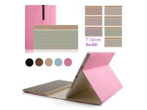 """iPad Pro 9.7"""" Colorful 7 Colors Backlit Aluminium Bluetooth Keyboard Flip Magnetic PU Leather Case Smart Cover(Pink)"""