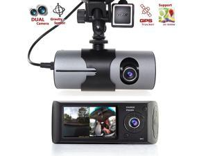 "R300 2.7"" 1080P Dual Lens Dash Board Camera Car HD DVR Video Recorder GPS Logger"