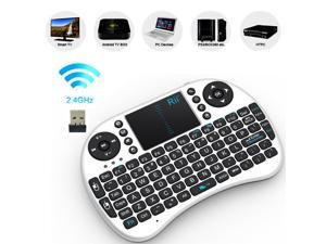i8 2.4GHz Wireless Fly Air Mouse Gaming Keyboard Touchpad for Andriod Google TV (White)
