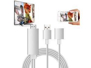 Cell Phone to HDMI TV Mirroring Cable Support iOS and Android to 1080P HDTV Cord for iOS and Android and Type C USB 3.1 Devices(Plug and Play )