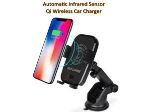 Wireless Car Charger Mount Automatic Infrared Induction Qi Wireless Charger Car Mount Air Vent Phone Holder for iPhone X iPhone 8 Plus Samsung Galaxy S9 S8+ S7 Edge Note 8 & Other Qi Enabled Device