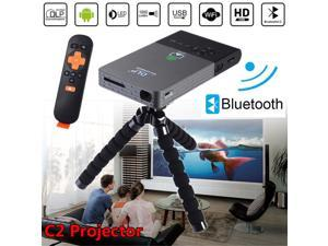 Portable Smart Mini Projector, Outdoor/Indoor Home Theater with Auto Keystone Correction, Bluetooth& WiFi Connectivity DLP Pocket Video Projector Support 1080P for Home Cinema C2(1g+8g)