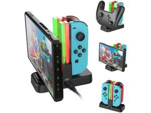 Nintendo Switch Joy-Con Pro Controller Charging Dock, Charging Dock Stand Station for Switch Joy-Con and Pro Controller with Charging Indicator and Type C Charging Cable 4 in 1