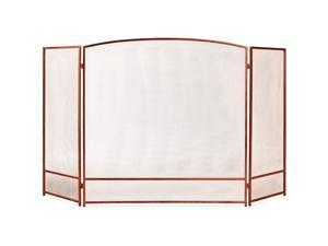 47x29in 3-Panel Simple Steel Mesh Fireplace Screen