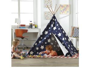 Merry Products TPE0080213010 Childrens Teepee Play Tent with white stars, Blue