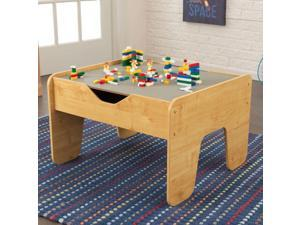 KidKraft 2-in-1 Activity Play Table with Plastic Building Block Board, Natural