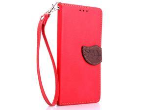 Greenery Leaf Fold Folio Flip PU Leather Full Protection Case Cover with Stand with 2 Card