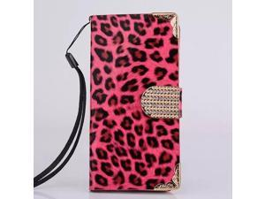 Bling Crystal Leopard Wallet Flip Folio PU Leather Full Protection Case Cover With 2 Card Slots For Apple iPhone 6 Plus (5.5 inch) Magenta with Screen Protector
