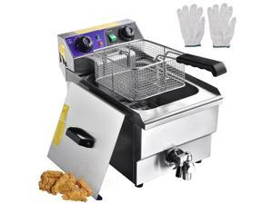 Commercial Restaurant Electric 11.7L Deep Fryer w/ Timer and Drain Stainless Steel