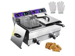 Commercial Electric 23.4L Deep Fryer Dual Tank w/ Timer and Drain Reset Button French Fry Restaurant