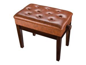 Piano Bench Adjustable Height PU Leather Padded Keyboard Organ Seat Throne Storage