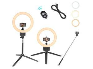 """Yescom 8"""" Dimmable LED Ring Light Floor Table Stand USB w/ Phone Holder Selfie Stick for Makeup Live Stream"""