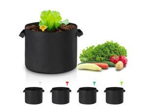 5 Pack Grow Bags Fabric Pots Root Pouch with Handles Flower Planting Container Breathable 10 Gallon