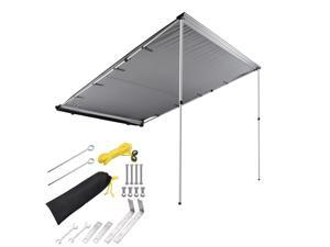 6.6x8.2ft Car Side Awning Rooftop Pull Out Tent Shelter Sun Shade SUV Outdoor Camping Travel Grey
