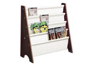 Kids Book Shelf Sling Storage Rack Organizer Bookcase Display Holder Walnut