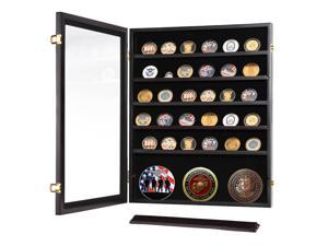 Military Challenge Coin Badge Display Case Casino Chip Holder Box Wood Cabinet