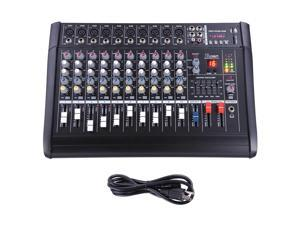 Pro 10 Channel Powered Audio Mixer power mixing Amplifier Amp 16DSP w/ USB Slot