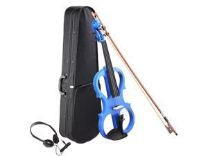 4/4 Electric Violin Full Size Wood Silent Fiddle Bow Headphone Case Blue