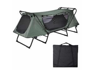 1-Person Folding Tent Cot Waterproof Oxford with Mesh Carry Bag Portable Sleeping Bed Camping Hiking