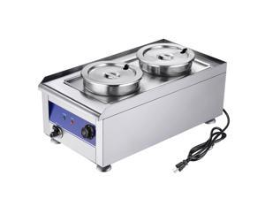 1200W Commercial Food Warmer with Dual 7L Pots Stainless Steel Countertop Steam Table Soup Buffet