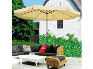 8194c76e18 9' ft Patio Umbrella Wood Pulley Control Market Outdoor Yard Beach Bar  Garden - Newegg.com