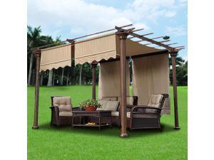 2 Pcs 15.5x4 Ft Canopy Cover Replacement with Valance for Pergola Structure