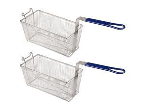 """Yescom 2 Pack 13 1/4"""" x 6 1/2"""" x 6"""" Deep Fryer Basket With Handle Commercial Restaurant"""