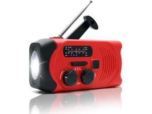 Weather Radio Emergency Solar Hand Crank AM/FM Radio - Red, With LED Flashlight SOS Alarm, 2000mAh Power Bank, For Camping, Hiking and Fishing
