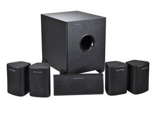 Monoprice 5.1 Channel Home Theater Satellite Speakers & Subwoofer, Black