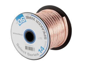 Monoprice Select Series 14 Gauge AWG Speaker Wire / Cable - 50ft Jacketed In Durable Plastic With A Color Coded Conductor For Home Theater, Car Audio And More