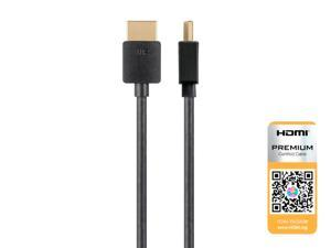 Monoprice High Speed HDMI Cable - 3 Feet - Black | Certified Premium, 4K@60Hz, HDR, 18Gbps, 36AWG, YUV, 4:4:4 - Ultra Slim Series