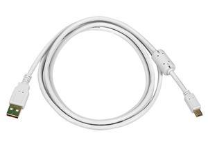 Monoprice USB 2.0 Cable - 6 Feet - White | USB Type-A to USB Mini-B 2.0 Cable - 5-Pin, 28/24AWG, Gold Plated